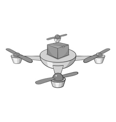 Quadcopter icon black monochrome style vector