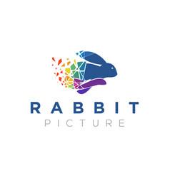 Rabbit bunny modern digital logo icon design vector