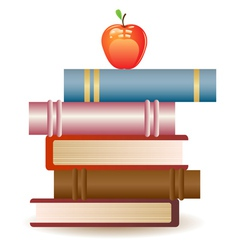 Red apple on book stack vector