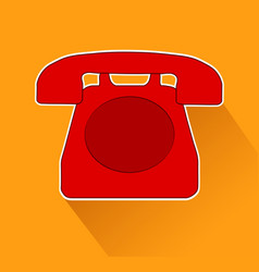 red phone old design on orange background with vector image