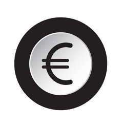 round icon black and white - euro currency symbol vector image