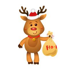 santa s reindeer rudolph and santa s gifts vector image
