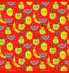 Seamless pattern of colorful cute fruit kawaii vector