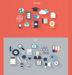 set flat icons for web and mobile devices vector image