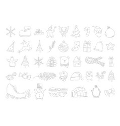 set hand drawn christmas icons design vector image