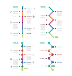 set of colorful time line vector image