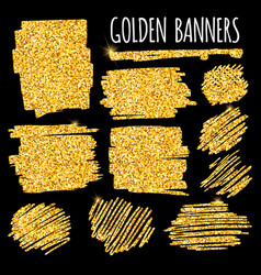 set of glitter golden banners and brushes vector image
