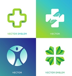 Set of logo design template in bright gradient vector