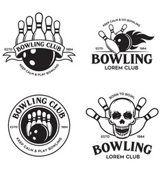 Set of vintage monochrome style bowling vector