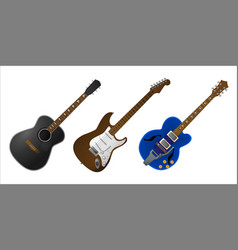 set realistic guitars vector image
