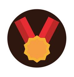 Sport medal ribbon award victory block flat icon vector