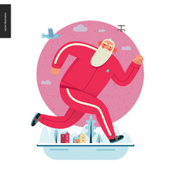 Sporting santa - winter otdoor running vector