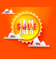 Sun paper cut summer sale vector