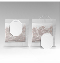 Tea bags with labels square shape vector