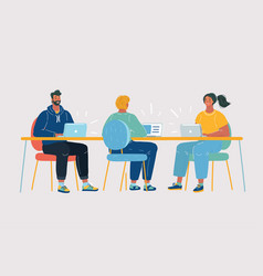team with four people working vector image