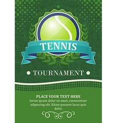 Tennis tournament background or poster with tennis vector image