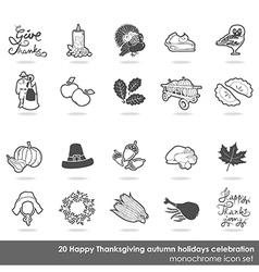 Thanksgiving icon set vector