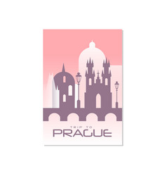 Trip to prague travel poster template touristic vector