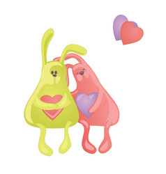 Two lovely cartoon rabbits couple of hugging vector