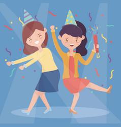 two women friendly dancing happy celebration vector image