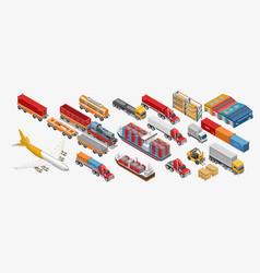 Various freight transport and storage facilities vector