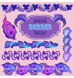 Violet peacock feathers border elements set vector