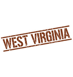 West virginia brown square stamp vector