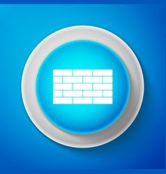 white bricks icon isolated on blue background vector image