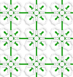 White geometric ornament with green net seamless vector