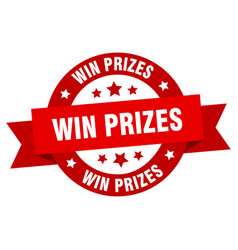 win prizes ribbon win prizes round red sign win vector image