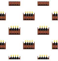 Wine bottles in a wooden crate pattern flat vector