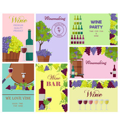 Winemaking template colorful collage wine drink vector