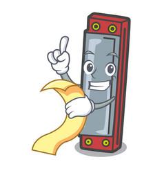With menu harmonica mascot cartoon style vector