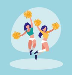 Women cheerleader isolated icon vector