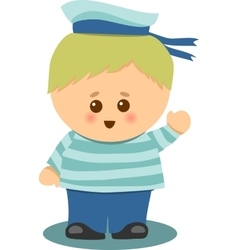 Boy And Life Buoy vector image vector image