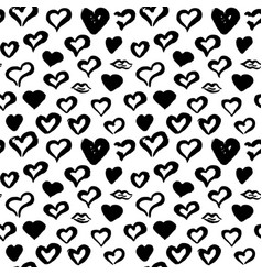 hearts hand drawn seamless pattern vector image vector image