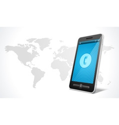 Mobile phone and world map icon vector image vector image