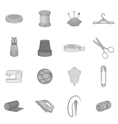 Tailoring icons set black monochrome style vector image vector image