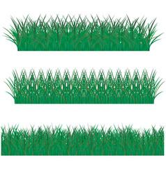 big grass borders set vector image
