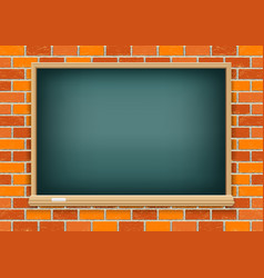 Blackboard on red brick background vector