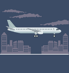 color poster city landscape with airplane in vector image vector image