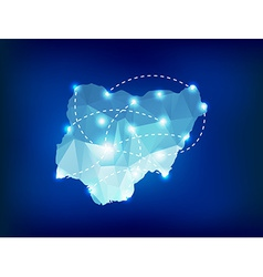 Nigeria country map polygonal with spot lights vector image vector image