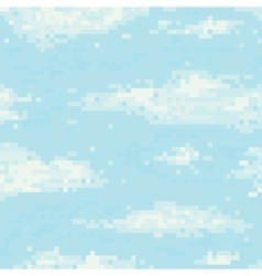 Pixel art sky seamless pattern vector image