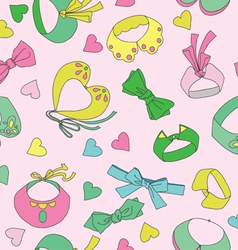 Seamless pattern with collars and hearts vector image vector image