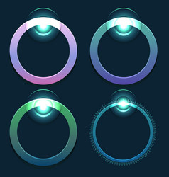 set of glowing round sliders element for vector image