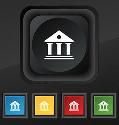 bank icon symbol Set of five colorful stylish vector image
