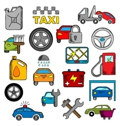 Car and repair service icons vector image