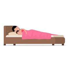 cartoon sleeping woman in bed with baby vector image vector image