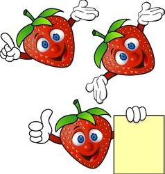 strawberry cartoon character vector image vector image