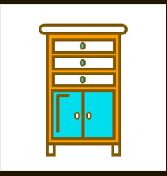 tall commode with chest of drawers and small vector image
